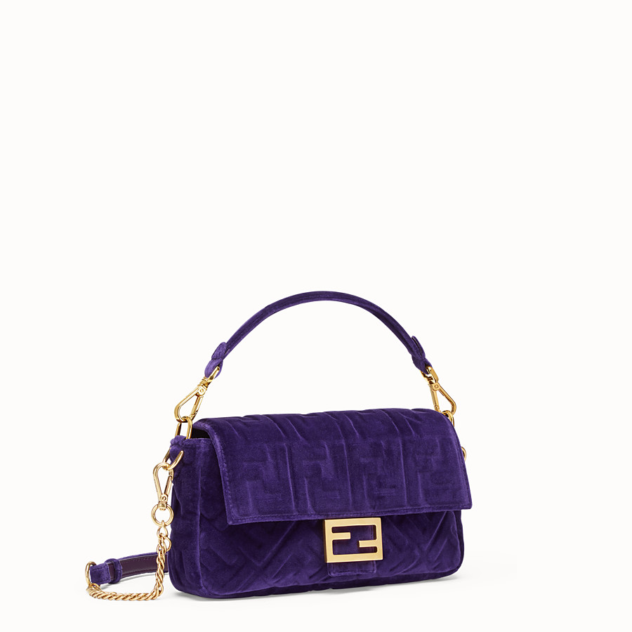 FENDI BAGUETTE - Purple velvet bag - view 2 detail