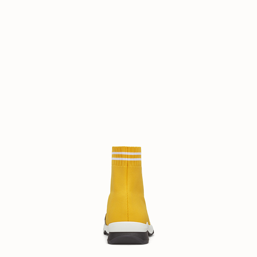FENDI SNEAKERS - Yellow fabric sneaker boots - view 3 detail