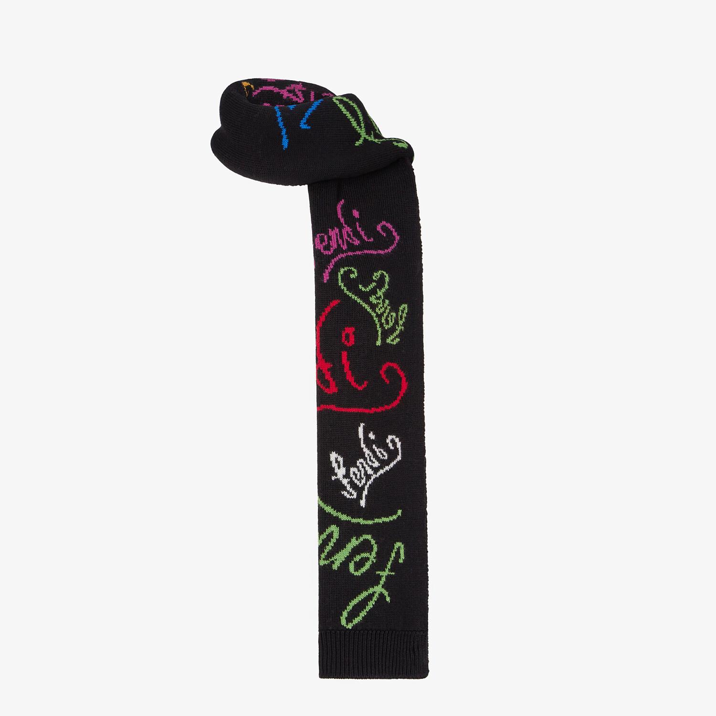 FENDI SCARF - Black knit scarf - view 2 detail