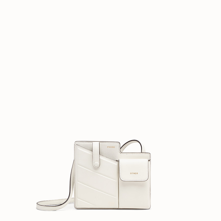 FENDI 2 POCKETS MINI BAG - White leather messenger - view 1 detail