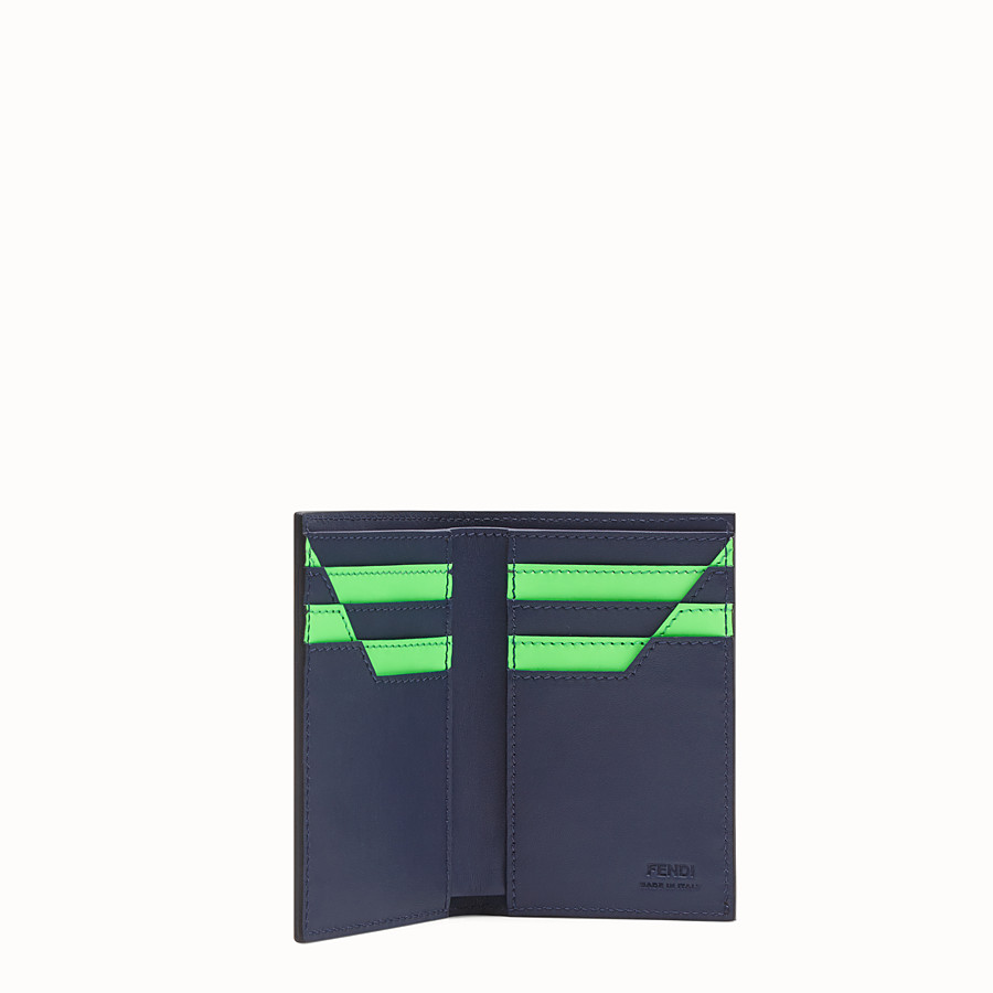 FENDI CARD HOLDER - Blue leather wallet - view 3 detail
