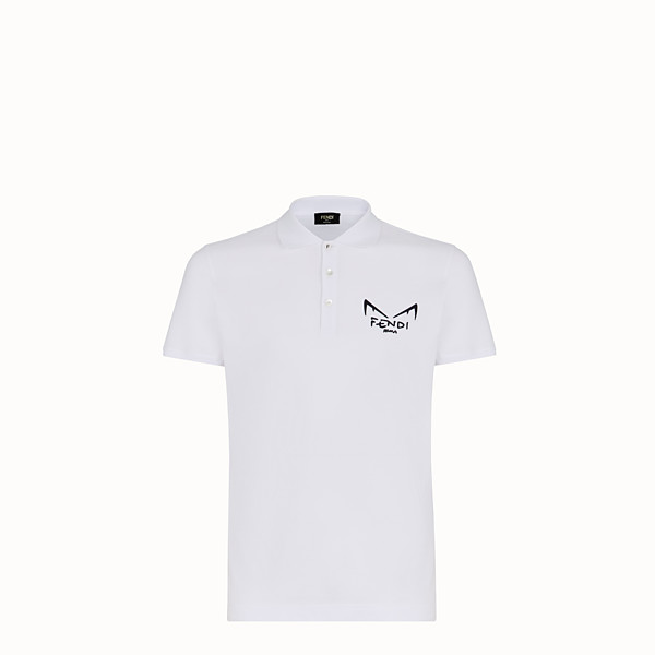 FENDI T-SHIRT - White piqué polo shirt - view 1 small thumbnail