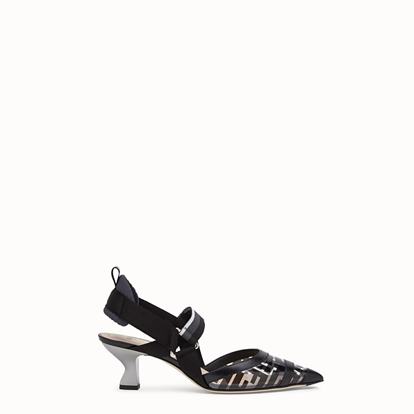 FENDI COURT SHOES - Slingbacks in PU and black leather - view 1 small thumbnail