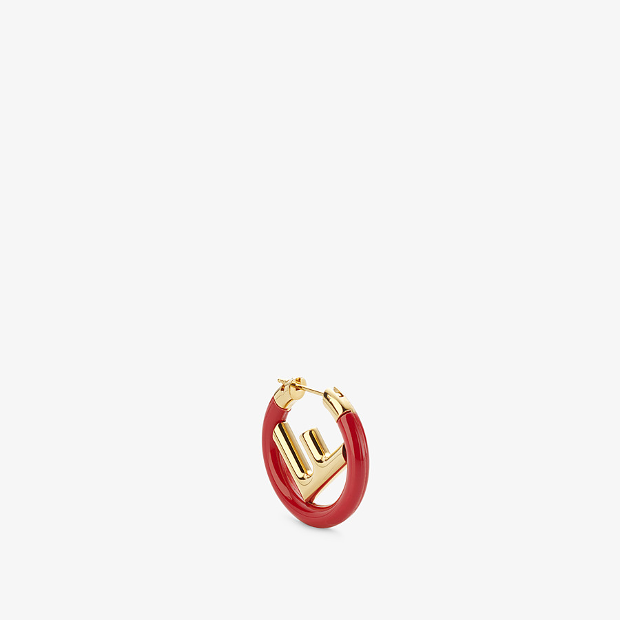 FENDI F IS FENDI EARRINGS - Gold and red colored earring - view 1 detail