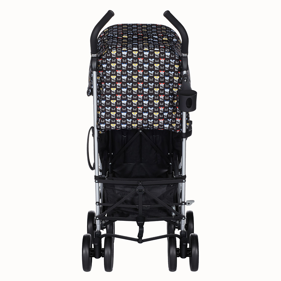 FENDI STROLLER - Blue stroller in fire-resistant material with monster pattern - view 5 detail