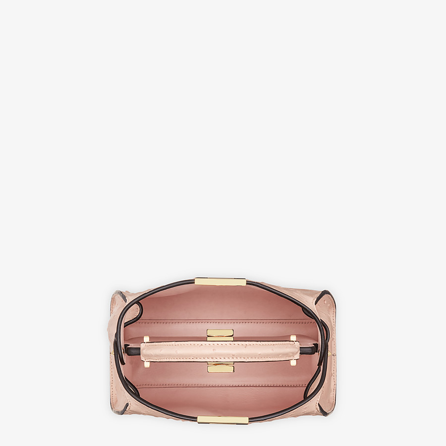 FENDI PEEKABOO ICONIC ESSENTIALLY - Pink ostrich leather bag - view 4 detail