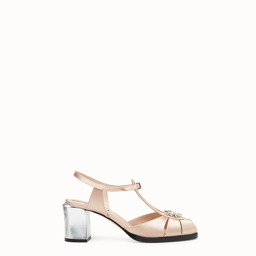 FENDI SANDALS - Pink satin sandals - view 1 detail
