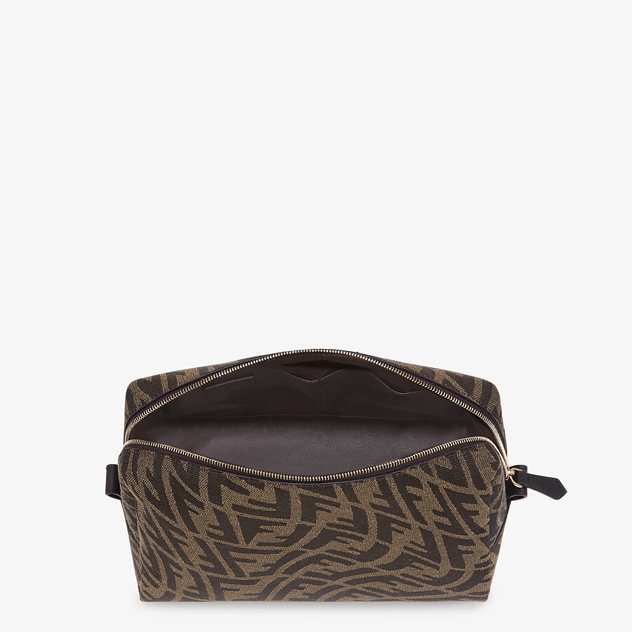 FENDI MEDIUM BEAUTY POUCH - Brown fabric toiletry case - view 3 detail