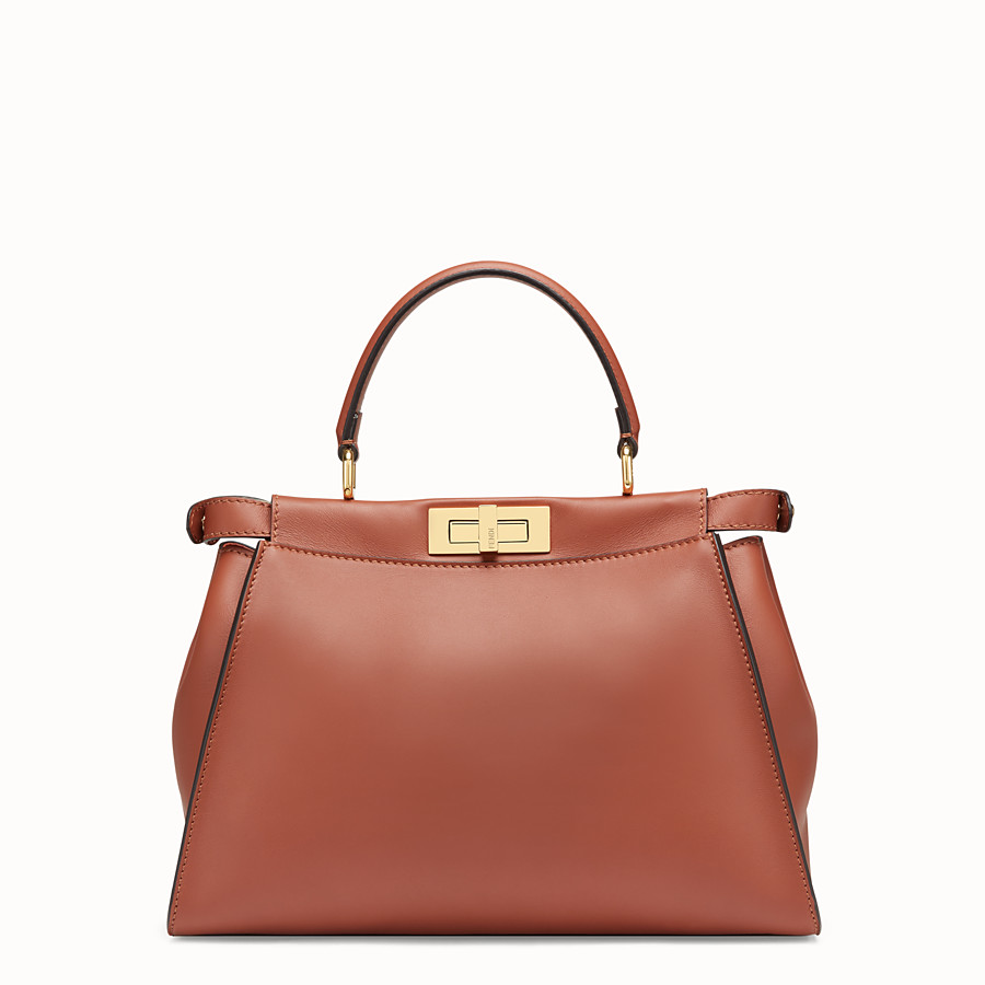 FENDI PEEKABOO REGULAR POCKET - Brown leather bag - view 4 detail