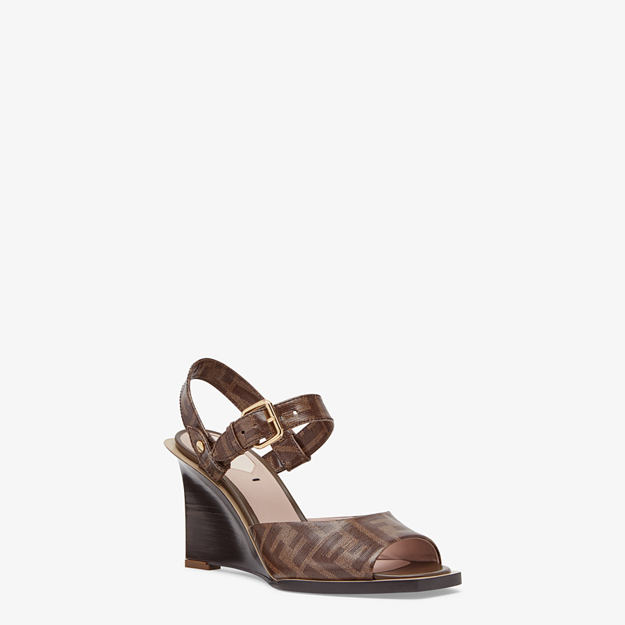 FENDI SANDALES - Sandales en tissu marron - view 2 detail