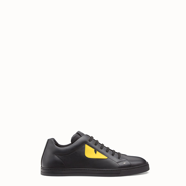 FENDI SNEAKER - Black and yellow leather low-tops - view 1 small thumbnail
