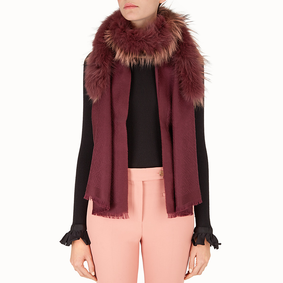 FENDI TOUCH OF FUR STOLE - in red silk and wool and fur - view 3 detail
