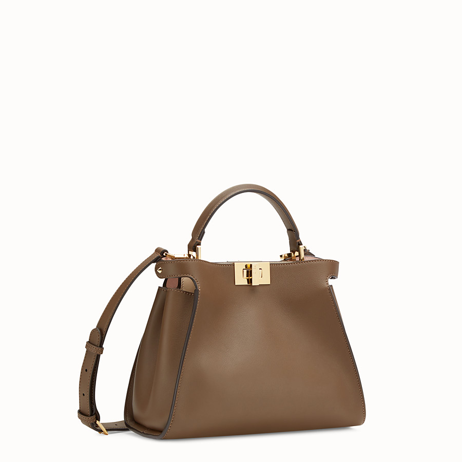 FENDI PEEKABOO ESSENTIAL - Tasche aus Leder in Braun - view 3 detail