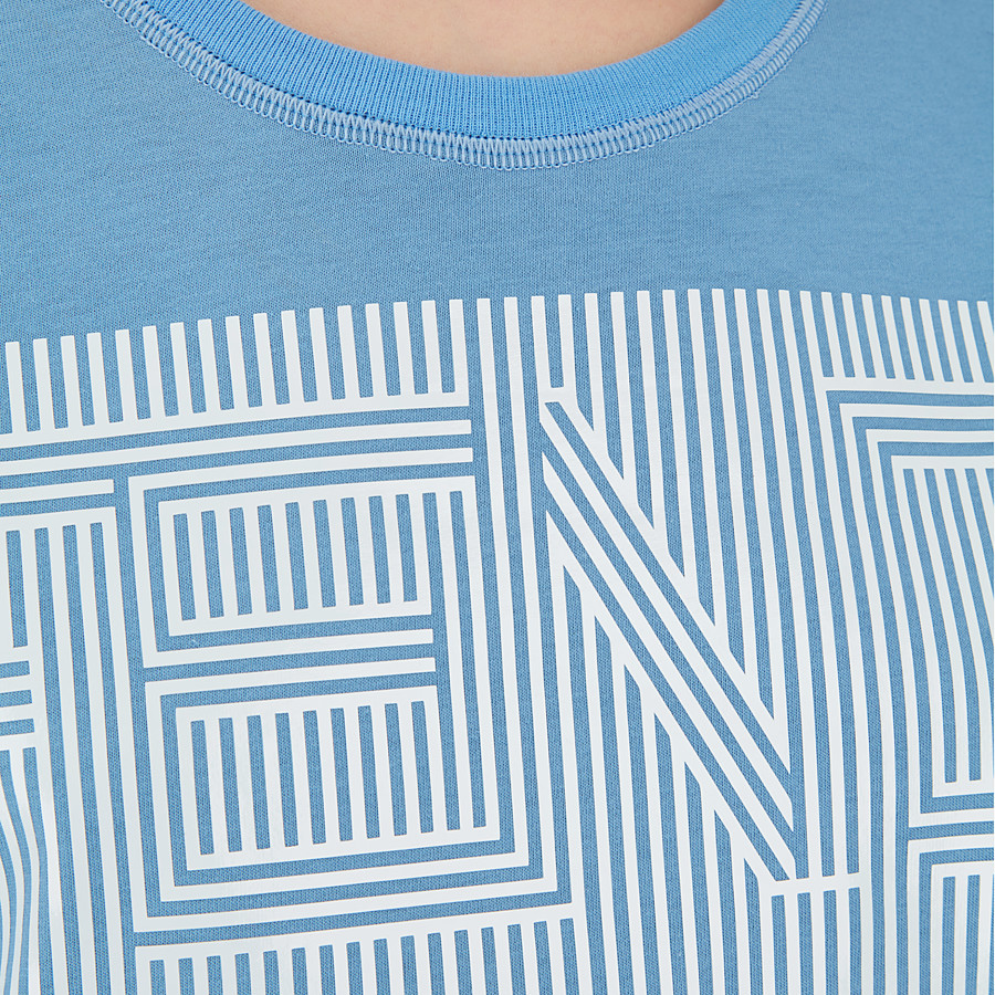 FENDI T SHIRT - Light blue cotton T-shirt - view 3 detail