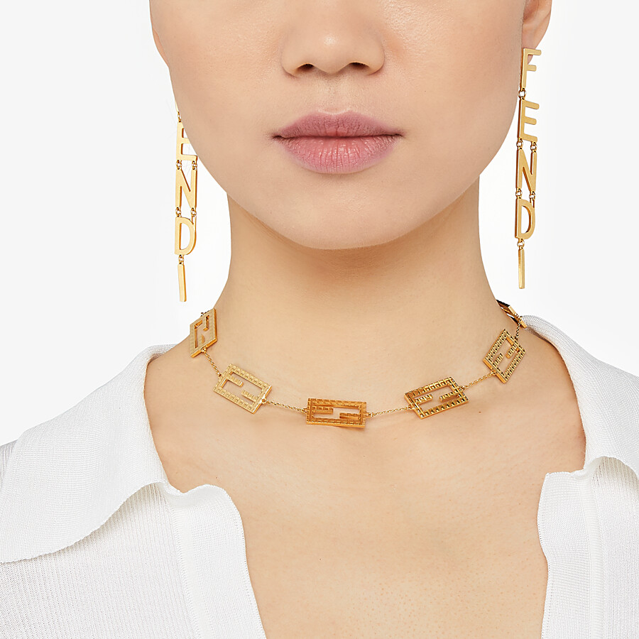 FENDI BAGUETTE NECKLACE - Gold-color necklace - view 2 detail