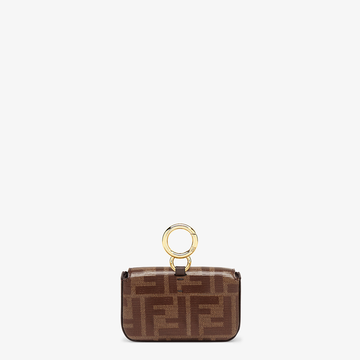 FENDI NANO BAGUETTE CHARM - Brown fabric charm - view 3 detail