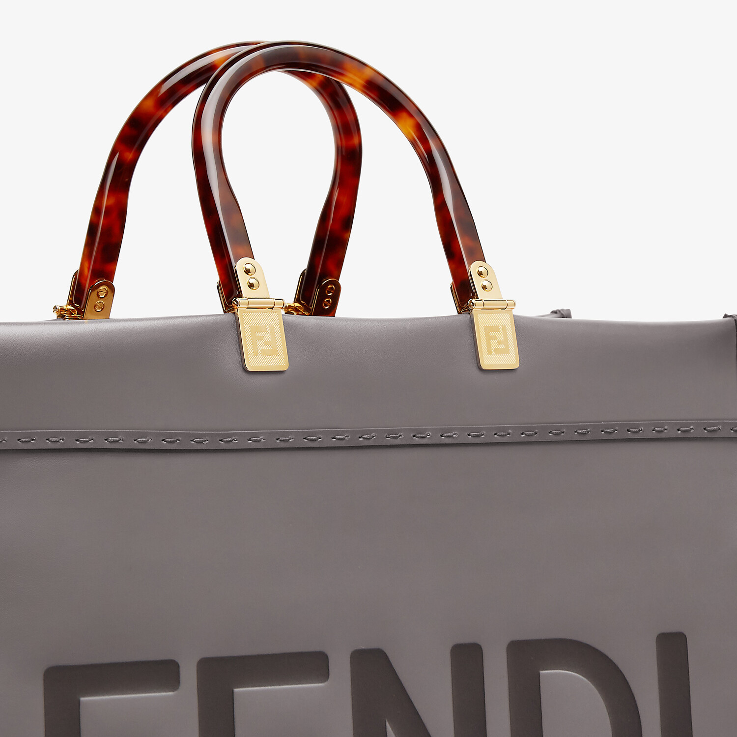 FENDI SUNSHINE SHOPPER - Gray leather shopper - view 5 detail