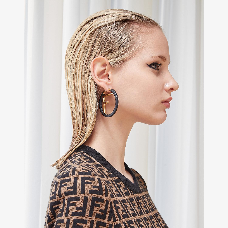 FENDI F IS FENDI EARRINGS - Black leather earrings - view 2 detail