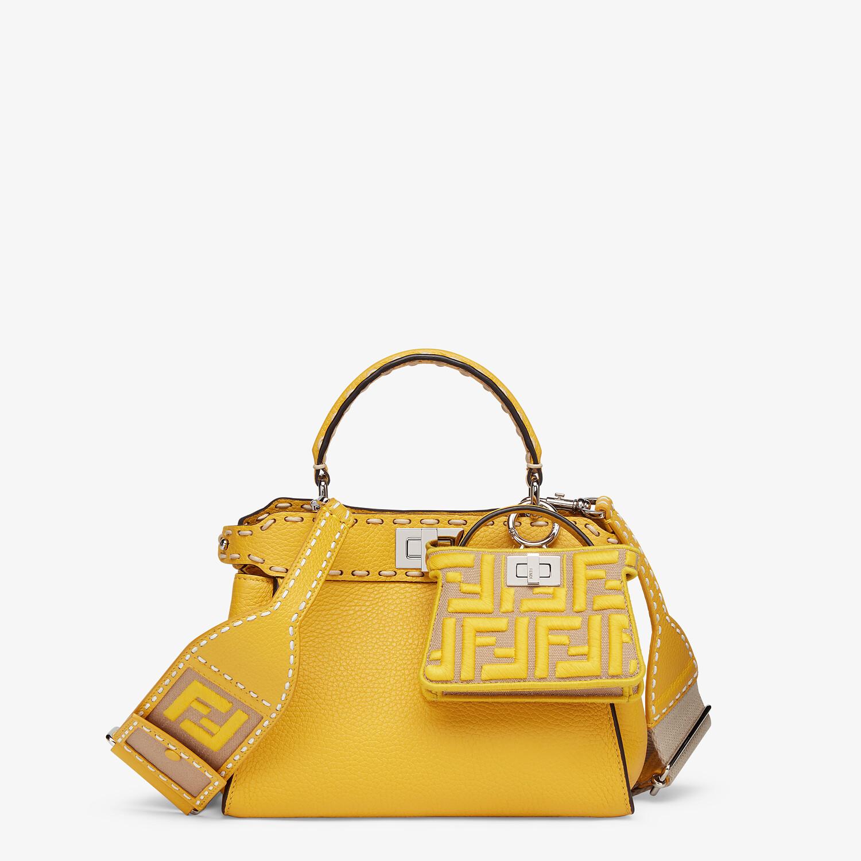 FENDI PEEKABOO ICONIC MINI - Yellow full grain leather bag - view 6 detail