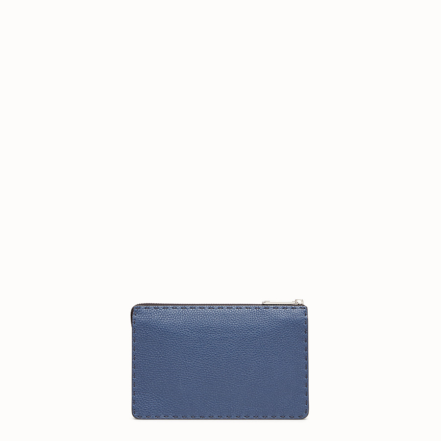FENDI CLUTCH - Blue leather slim pouch - view 3 detail