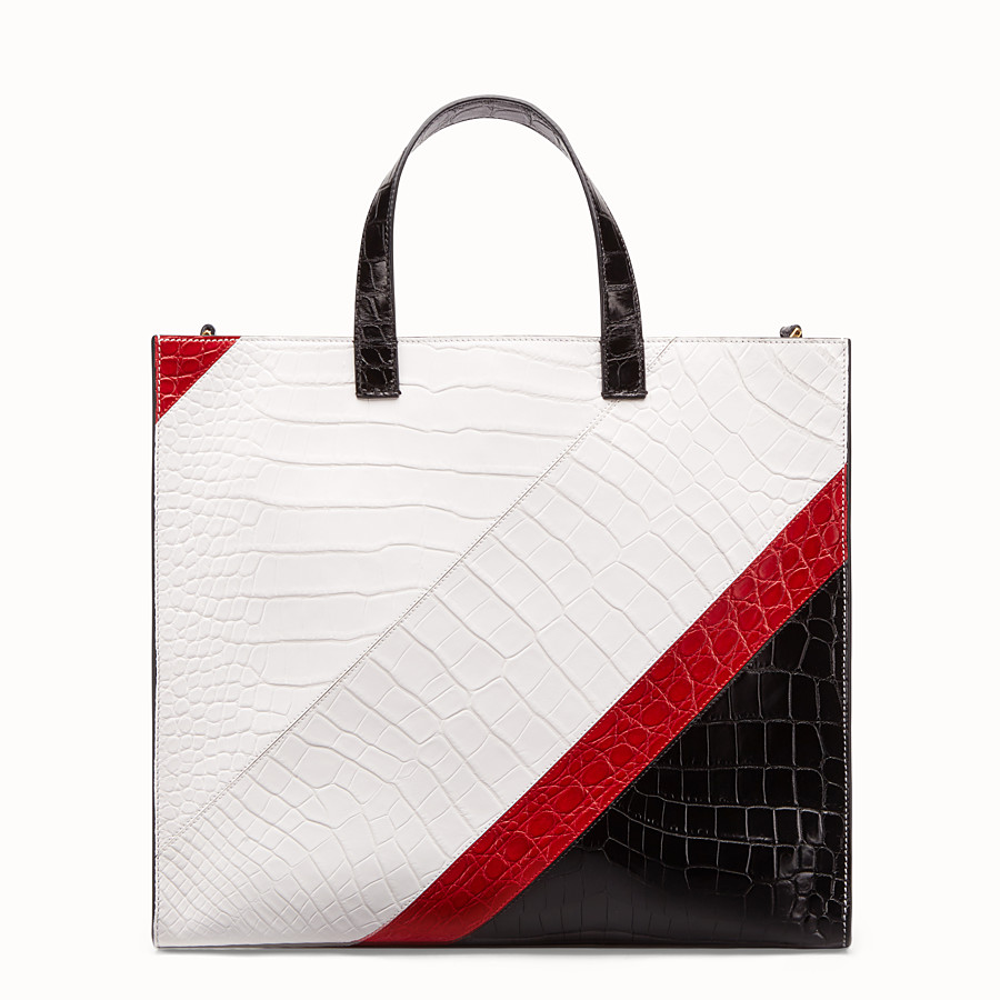 FENDI SHOPPER - Multicolour crocodile leather bag - view 3 detail