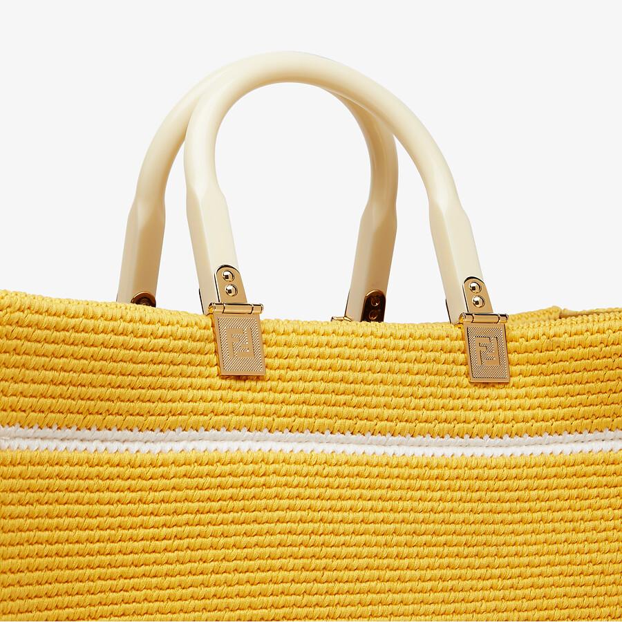 FENDI FENDI SUNSHINE MEDIUM - Yellow cotton crochet shopper - view 5 detail
