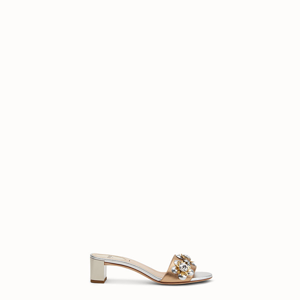 FENDI SANDALS - in laminated nappa with flowers - view 1 small thumbnail