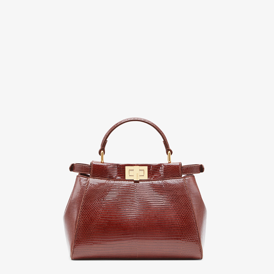 FENDI PEEKABOO ICONIC MINI - Brown lizard bag - view 3 detail