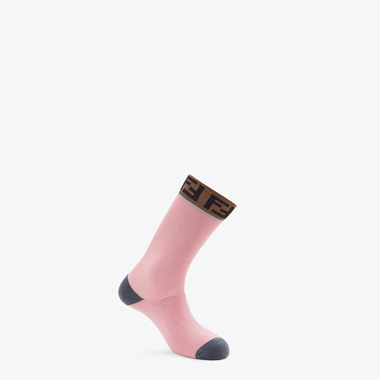 FENDI SOCKS - Pink stretch cotton socks - view 1 detail
