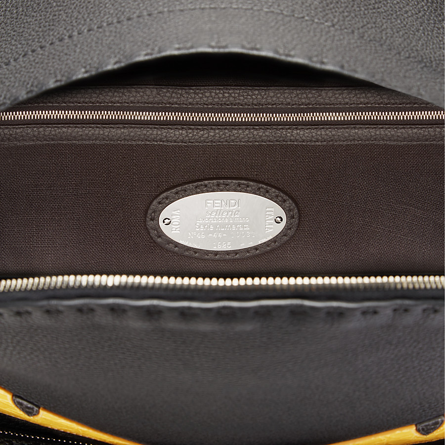 FENDI BACKPACK - In black Roman leather with inlay - view 4 detail