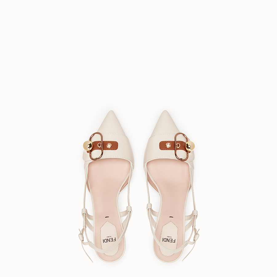 FENDI COURT SHOES - White leather slingbacks - view 4 detail