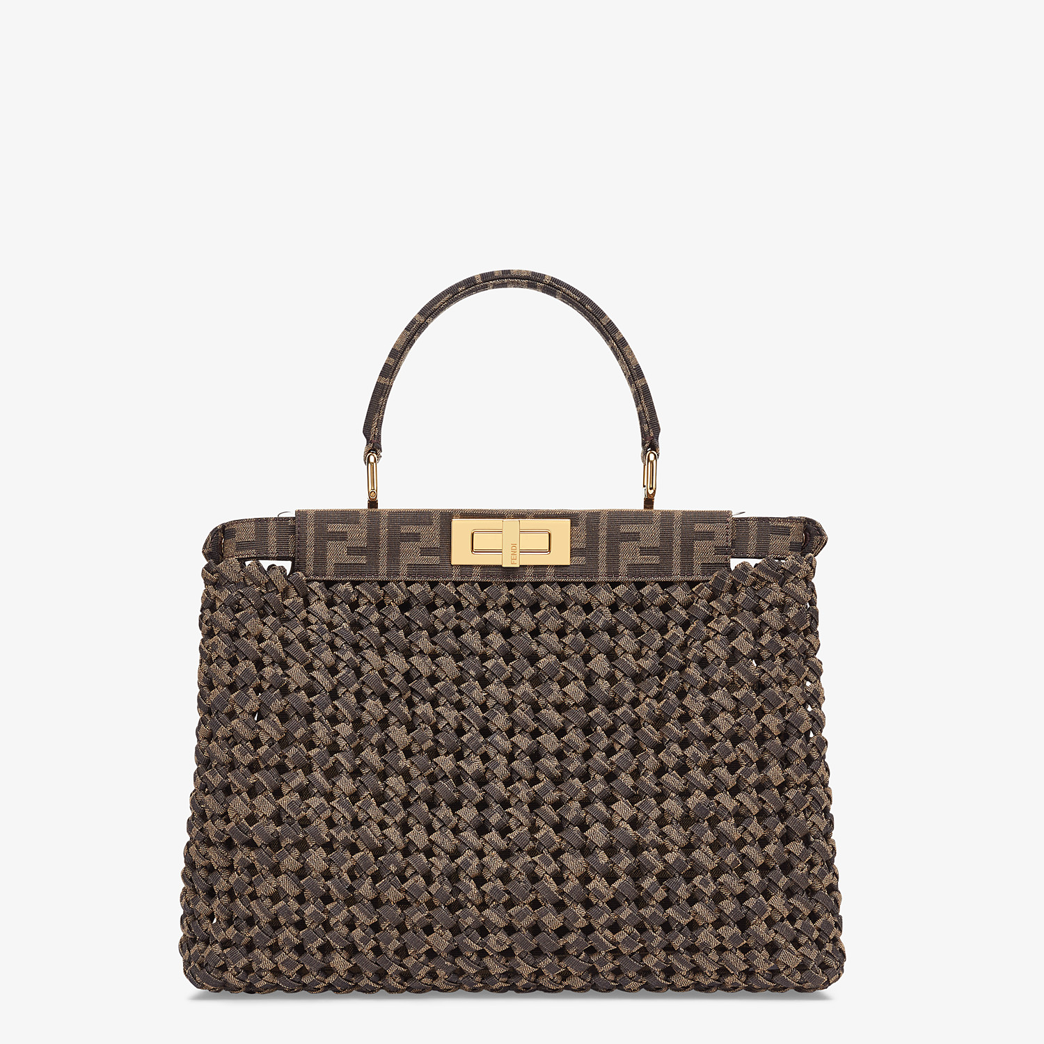 FENDI PEEKABOO ICONIC MEDIUM - Jacquard fabric interlace bag - view 4 detail