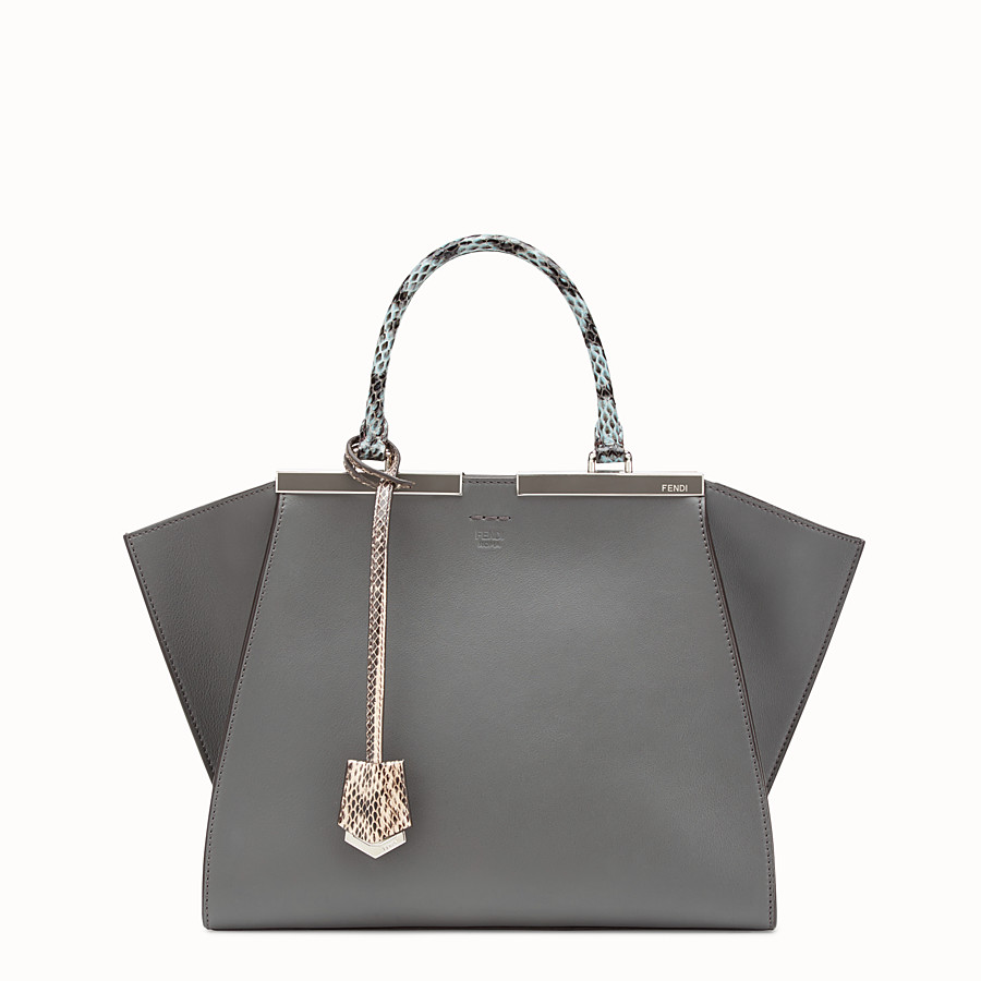 FENDI 3JOURS - Grey leather bag with exotic details - view 1 detail