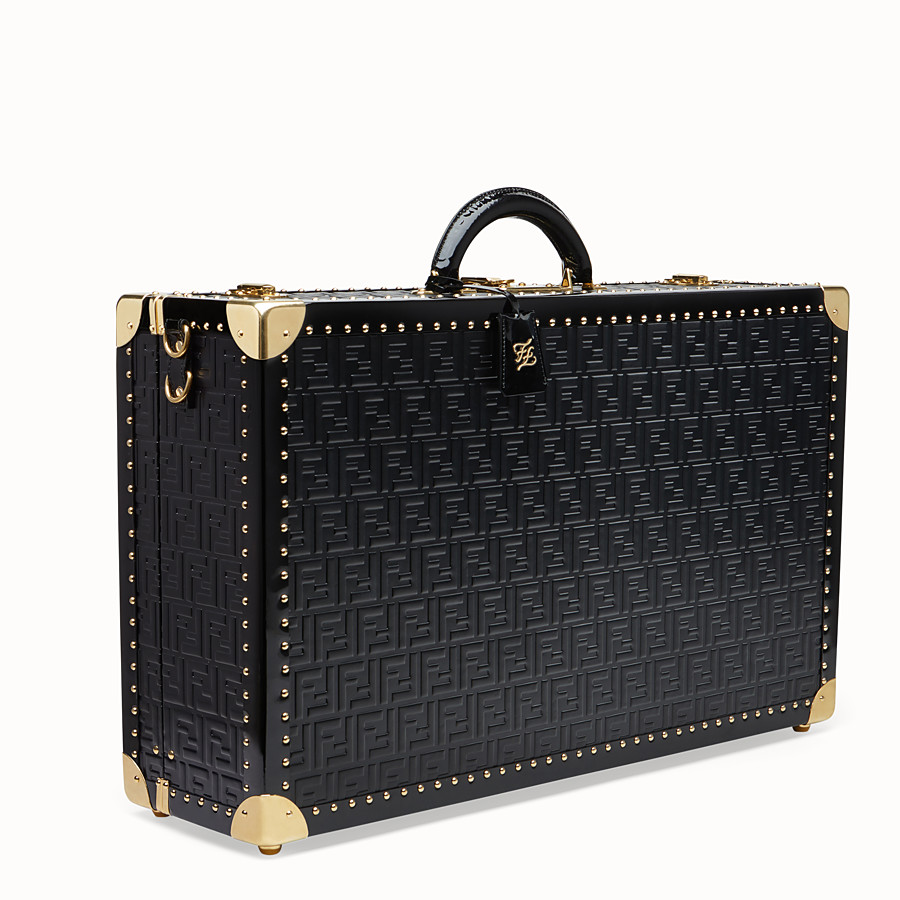 FENDI LARGE TRAVEL BAG - Black leather suitcase - view 2 detail