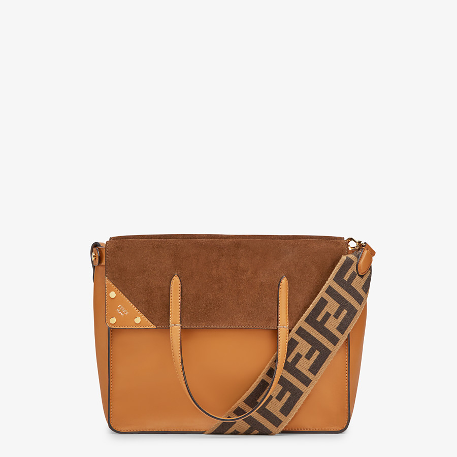 FENDI FENDI FLIP LARGE - Brown leather and suede bag - view 1 detail