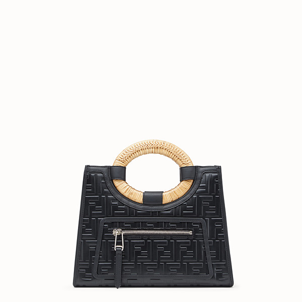 FENDI RUNAWAY SHOPPER - Black leather small shopper - view 1 small thumbnail