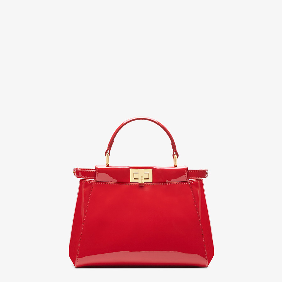 FENDI PEEKABOO ICONIC MINI - Tasche aus Lackleder in Rot - view 1 detail