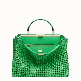 FENDI PEEKABOO ICONIC LARGE - Green leather interlace bag - view 1 thumbnail