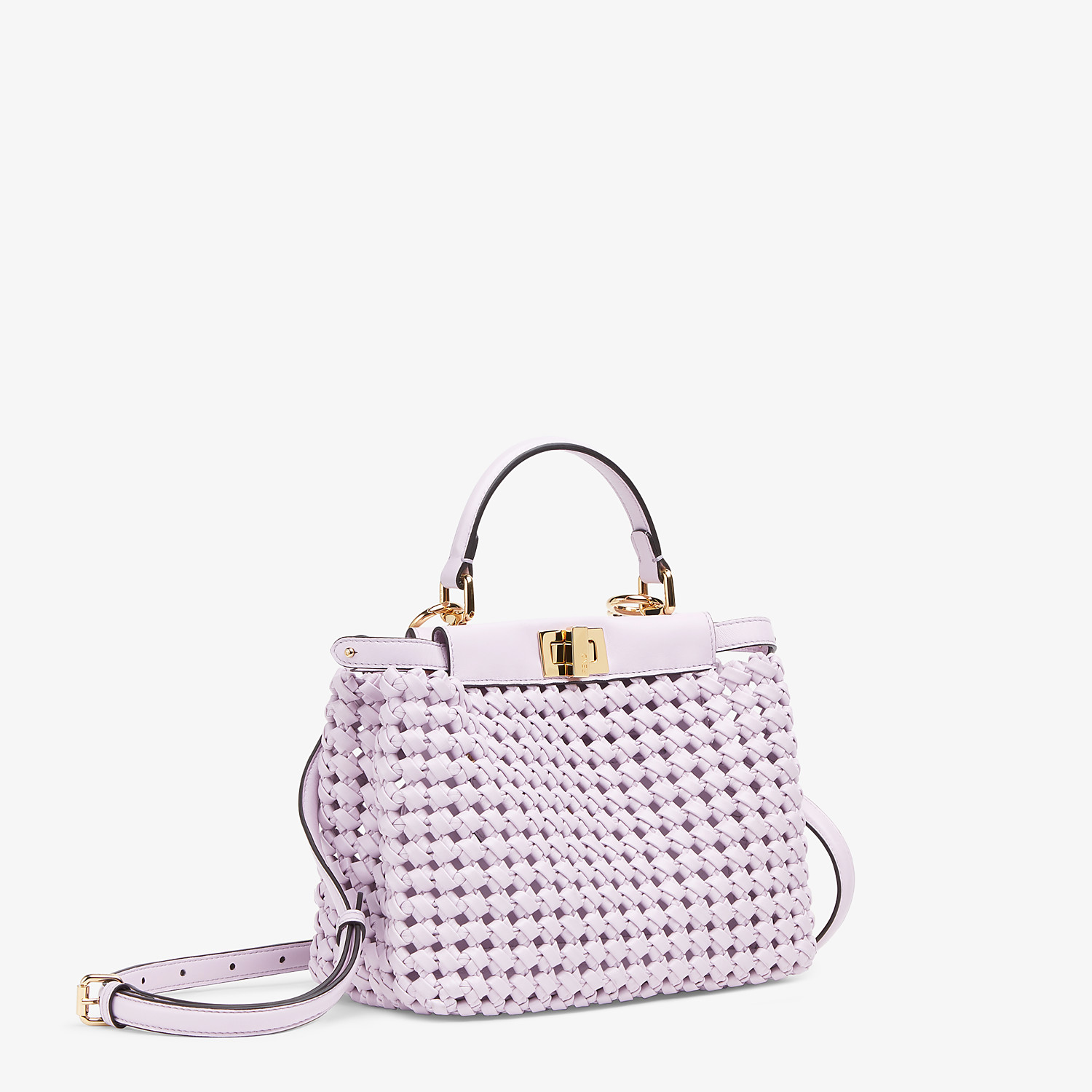 FENDI PEEKABOO ICONIC MINI - Lilac leather interlace bag - view 3 detail
