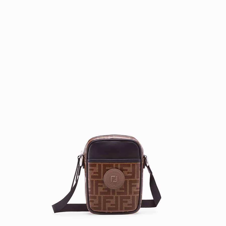 FENDI SMALL MESSENGER - Brown fabric cross-body - view 1 detail