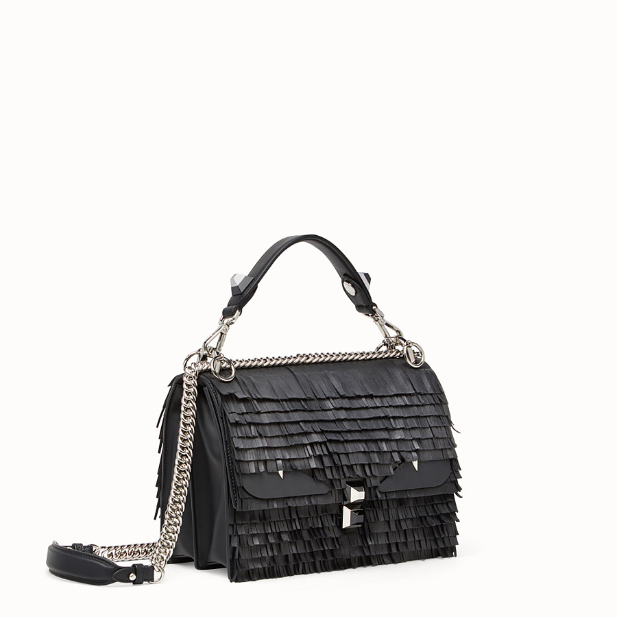 FENDI KAN I - Black leather handbag with fringe - view 2 detail