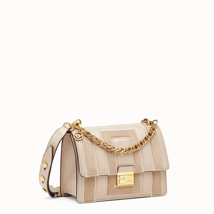 FENDI KAN U - Beige suede and leather bag - view 2 detail
