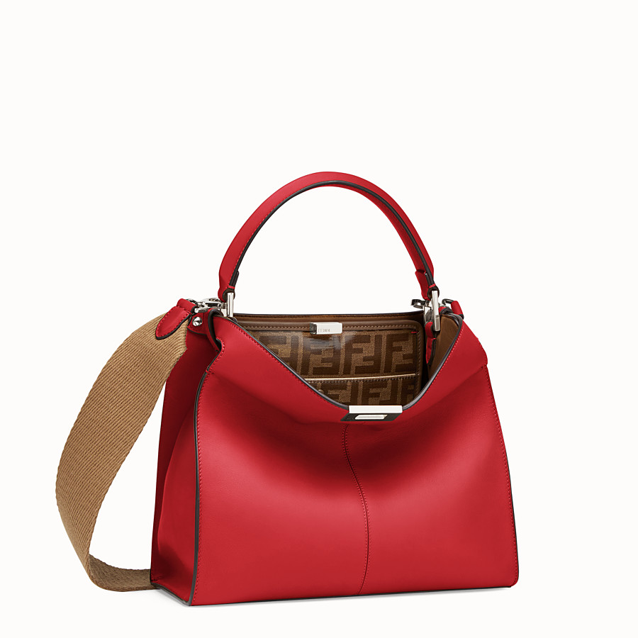FENDI PEEKABOO X-LITE REGULAR - Red leather bag - view 3 detail