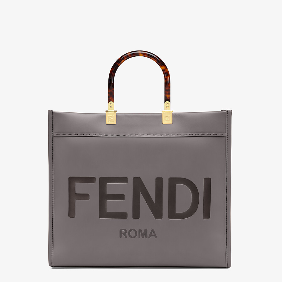 FENDI FENDI SUNSHINE MEDIUM - Gray leather shopper - view 1 detail
