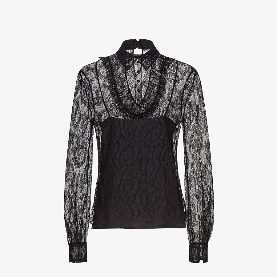 FENDI SHIRT - Black lace shirt - view 2 detail