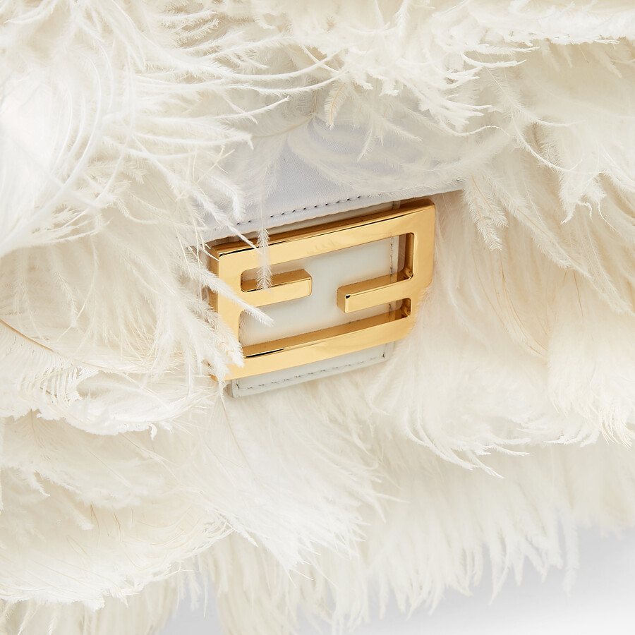 FENDI BAGUETTE - White nappa leather and feather bag - view 5 detail