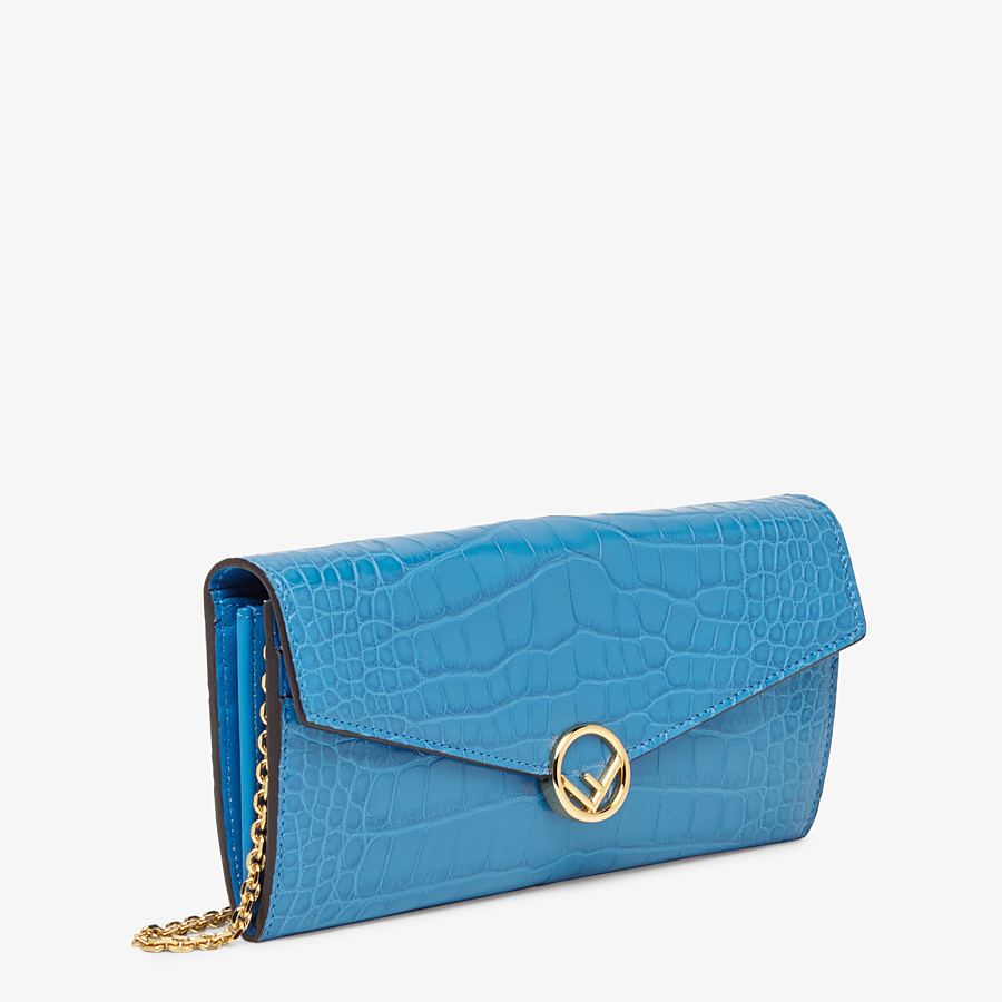 FENDI CONTINENTAL WITH CHAIN - Pale blue alligator wallet - view 2 detail
