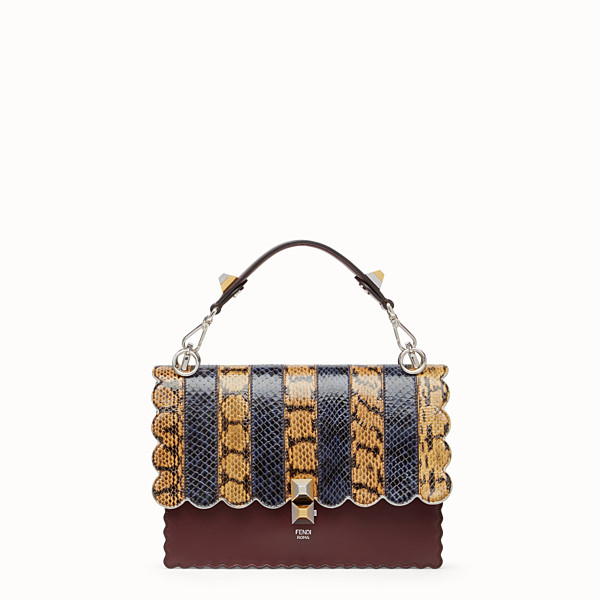 FENDI KAN I - Burgundy leather and python handbag - view 1 small thumbnail