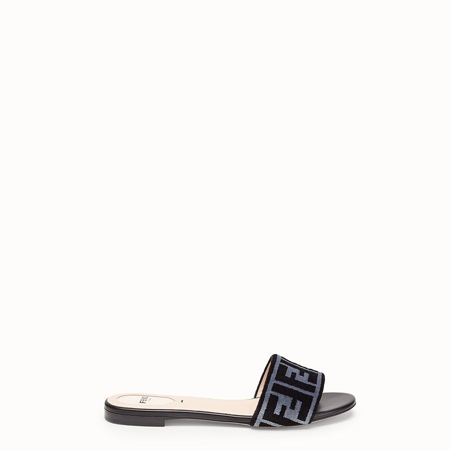 FENDI FLAT SANDALS - Multicolour leather and fabric slides - view 1 detail