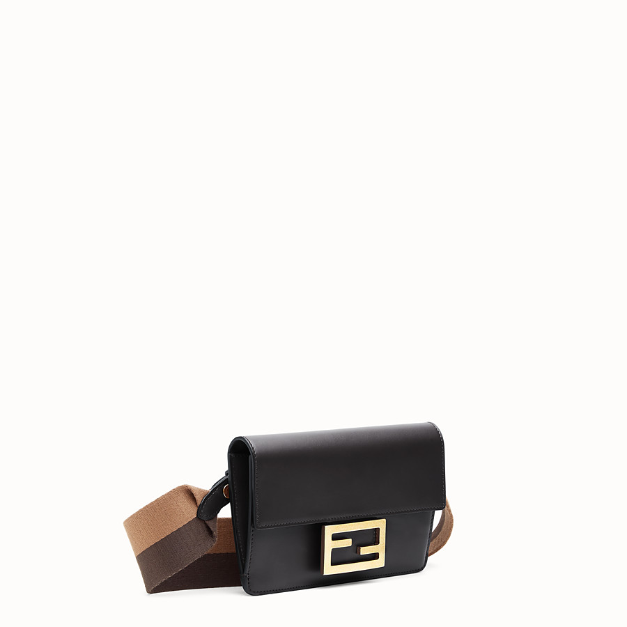 FENDI FLAT BAGUETTE - Black leather mini-bag - view 3 detail
